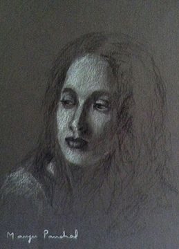 A portrait study work on toned paper, using charcoal and white pastel pencil.  By Manju Panchal www.charcoalspastelsandmore.blogspot.in