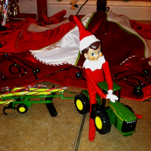 elf on a shelf a fan of john deere - Elf On The Shelf Christmas Tradition