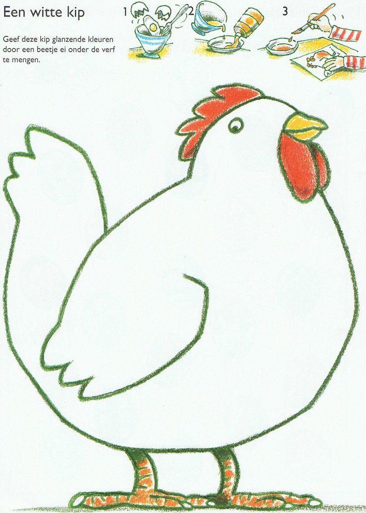 Werkblad - kip kleuren met ei en verf