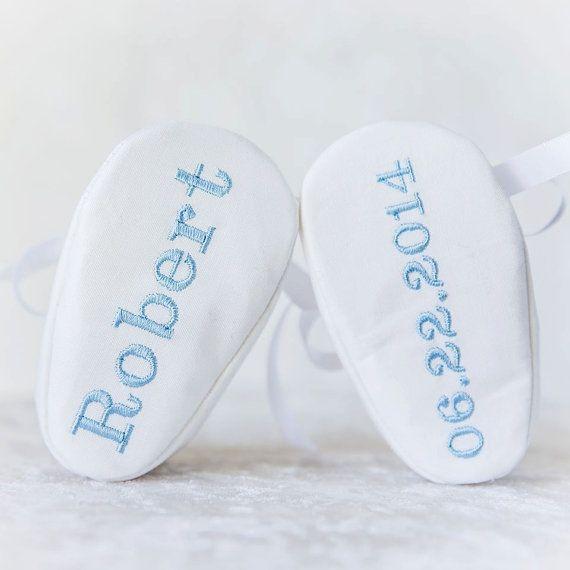 Baby Boy Monogram Baptism Christening White shoe by LoveBabyRags