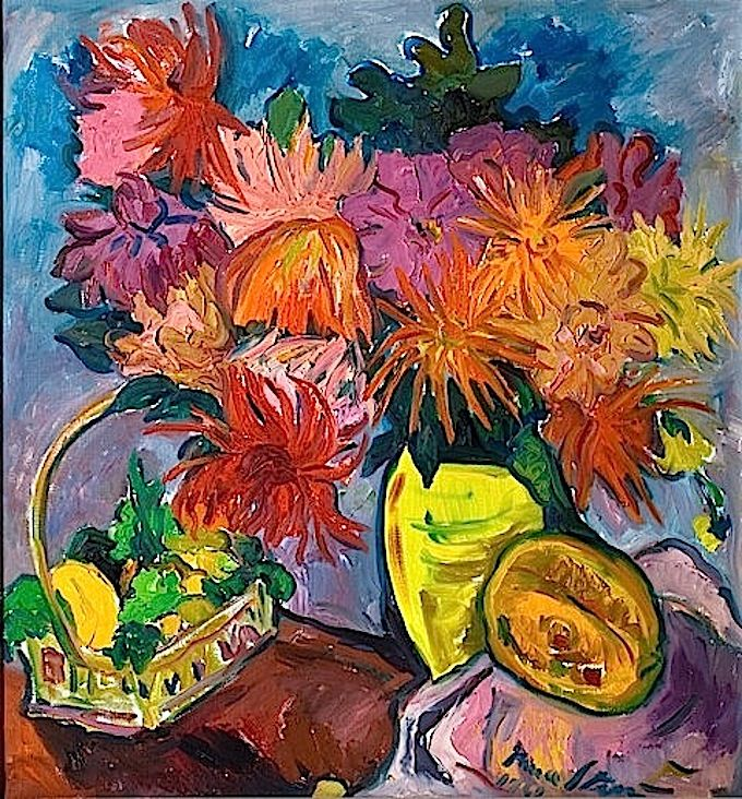 Still Life with Dahlias and Fruit - Irma Stern, 1960