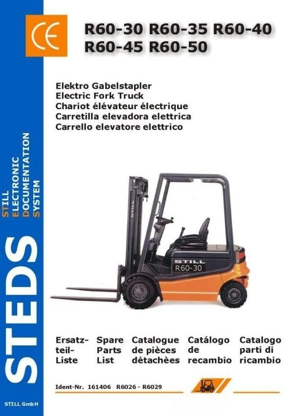 Original Illustrated Factory Spare Parts List for Still Electric Forklift Truck R60-30, R60-35, R60-40, R60-45, R60-50.Original factory manuals for Still Forklift Trucks, contains high quality images, circuit diagrams and instructions to help you to operate and repair your truck. All Manuals Printab