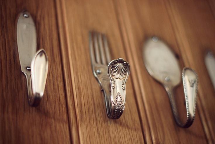 DIY bent utensils = hooks