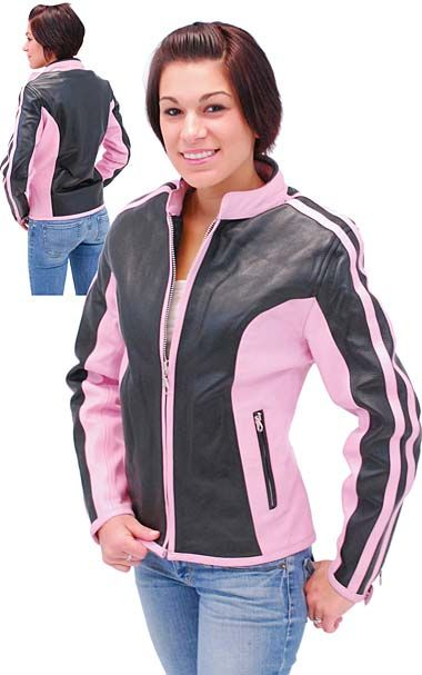 NEW! $159.99  Pink striped and black cowhide leather motorcycle jacket for women with full sleeve zip out lining, mandarin collar, inside cell phone pocket and more.