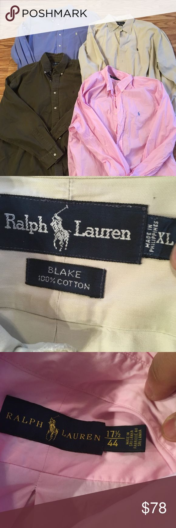 🔥sale👕 Lot Of 4 Polo Ralph Lauren Button Shirts You are purchasing four Polo Ralph Lauren button down/dress shirts. These retail for 125 each. Dry cleaned professionally.  They are in excellent condition. 9.5/10. They are size extra large. One is pink  one is blue  one is dark green/Olive  and the last one is light tan/cream.  Best offer wins :) Polo by Ralph Lauren Shirts Casual Button Down Shirts