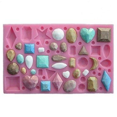 mini gem vormige fondant cake chocolade siliconen mal, cupcake decoratie gereedschappen, l12cm * w7.5cm * h1cm – EUR € 5.99