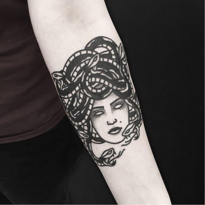 Medusa tattoo by Solly Rose SollyRose blacktraditional medusa blackwork snakes snake
