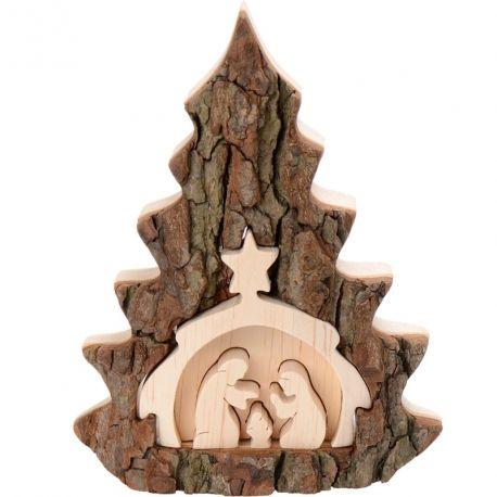 Cr che de no l en bois en forme de sapin taill e dans - Fabriquer une creche de noel en bois ...