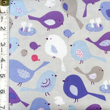 Tweet Together by Monkey Bow for Studio E ~ A darling low volume collection in soft grays, blues and purples featuring the cutest little birds! Follow this pin to see the entire collection from the Fabric Shack!