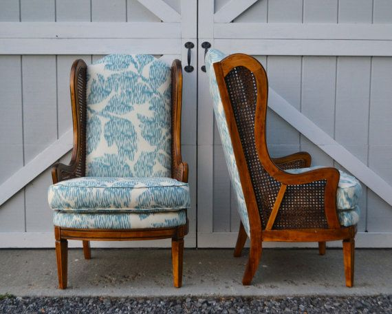 RESERVED Wingback Chairs With Caning Reupholstered In Blue / White Leaf  Print
