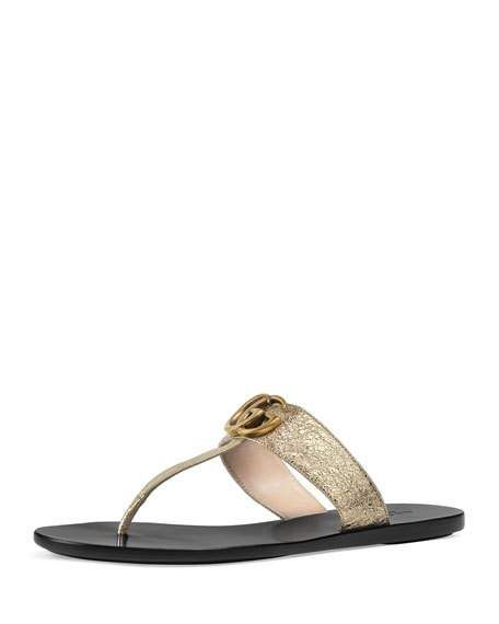 6f4c41d2cb7c Marmont Metallic Leather Flat Thong Sandal by Gucci at Neiman Marcus