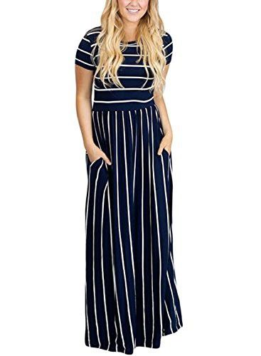 f18af378d02 HOTAPEI Women s Summer Casual Loose Striped Long Dress Short Sleeve Pocket Maxi  Dress Navy Blue