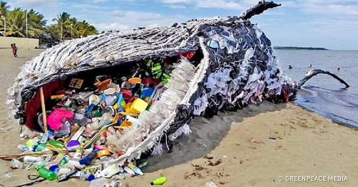 Whale Installation Made From Trash Found In The Ocean