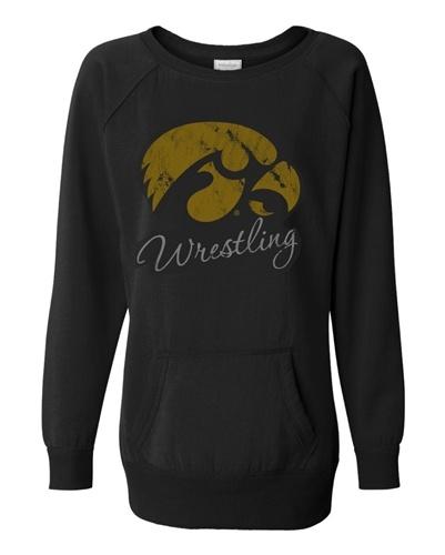 Ladies Distressed Iowa Wrestling Tunic Sweatshirt -Black