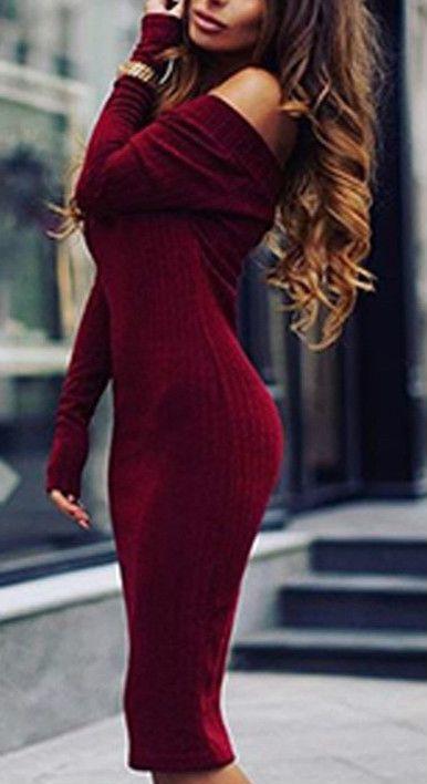 Women's Solid Color Off Shoulder Bodycon Dress