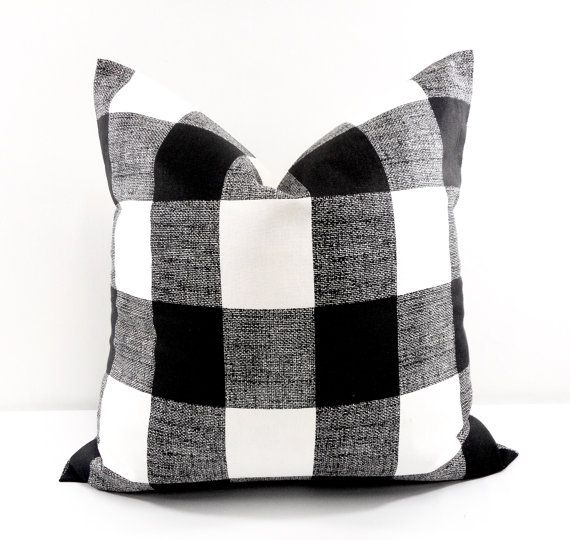 Black Buffalo Checkered Pillow cover. Black and White Country Decor. Choose Size.  This listing is for 1 piece of Red and white pillow case