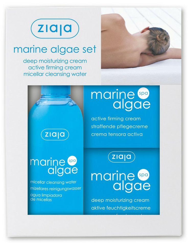 Ziaja Marine Algae Set beinhaltet folgende Produkte: Ziaja Marine Algae Spa Aktive Feuchtigkeitscreme 50ml Indikation Hellblaue Feuchtigkeitscreme für die tägliche Pflege der Haut ab dem 30. Lebensjahr.  Wirkung Erhöht das Feuchtigkeitsniveau der Haut. Regeneriert die Lipo-Struktur der Haut. Verbessert die Hautelastizität. Schützt vor der vorzeitigen Hautalterung.  Hypoallergen, getestet auf der problematischen Haut unter hautärztlicher Kontrolle. Enthält UV-Filter, schützt die Haut vor…