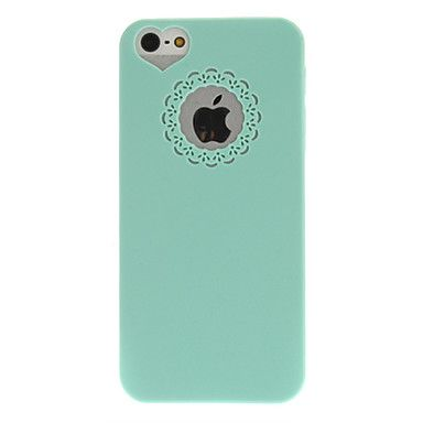 USD $ 2.03 - Mint Green PC Hard Case with Engraving Flower and Heart Shaped Hole Site for iPhone 5/5S, Free Shipping On All Gadgets!
