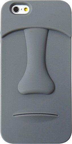 液晶保護フィルム付き モアイ像  iPhone5/5s iPhone SE  ソフトケース / (Gray (グレー)) [並行輸入品]