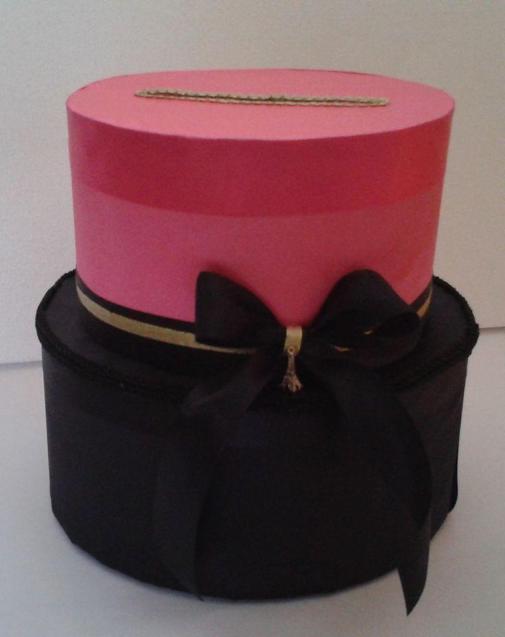 Caja para Sobres Rosa Negro, tematica Paris #15años