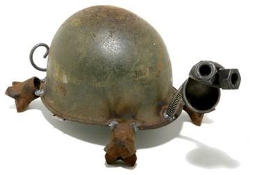Helmet Turtle Garden Statue - eclectic - garden sculptures - atlanta - Iron Accents