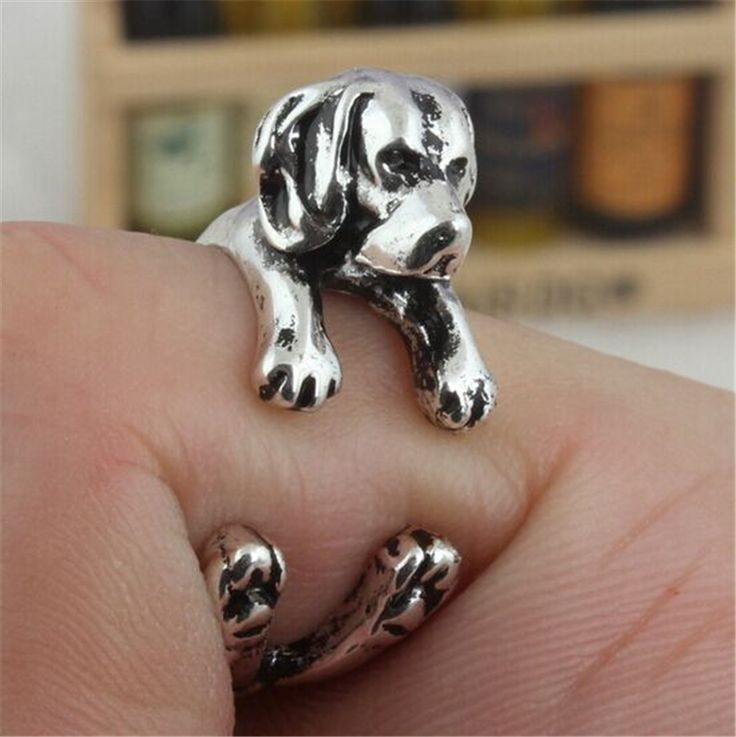 Antique Silver Cute Beagle Rings Beagle Dog Puppy Anels Adjustable Animal Rings for Women RONGQING JZ-003