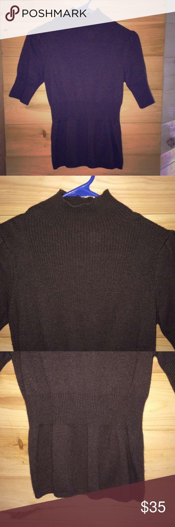 Anthropologie Moth short sleeve sweater XS Brown MOTH Rayon/Nylon/Cotton/Angora blend.  Very soft, warm, comfortable.  Pre-loved. MOTH Sweaters Cowl & Turtlenecks