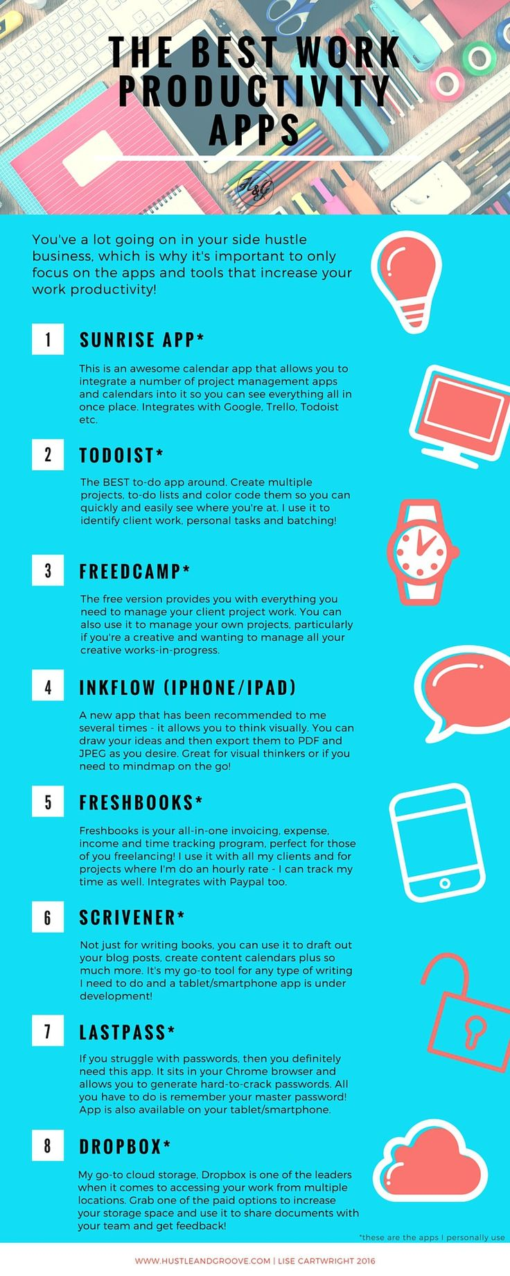 8 Work Productivity Apps for your side business #sidehustle101 #blogging #productivity