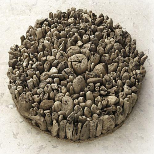 "Thomas Francisco-Wood, 2011, Sculpture ""Déjà vu Henge as Muse""  *standing wood on end"