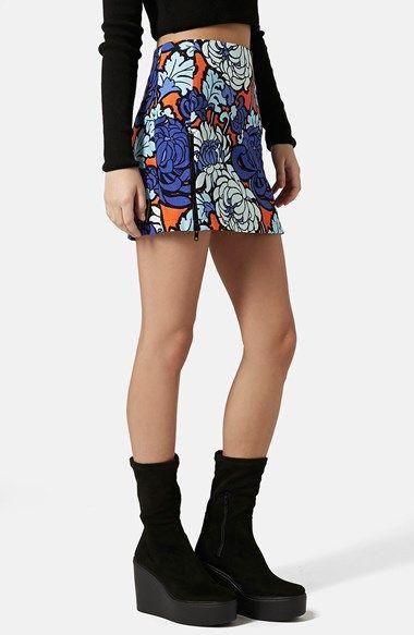Topshop 'Paris Blue' Floral Miniskirt available at #Nordstrom