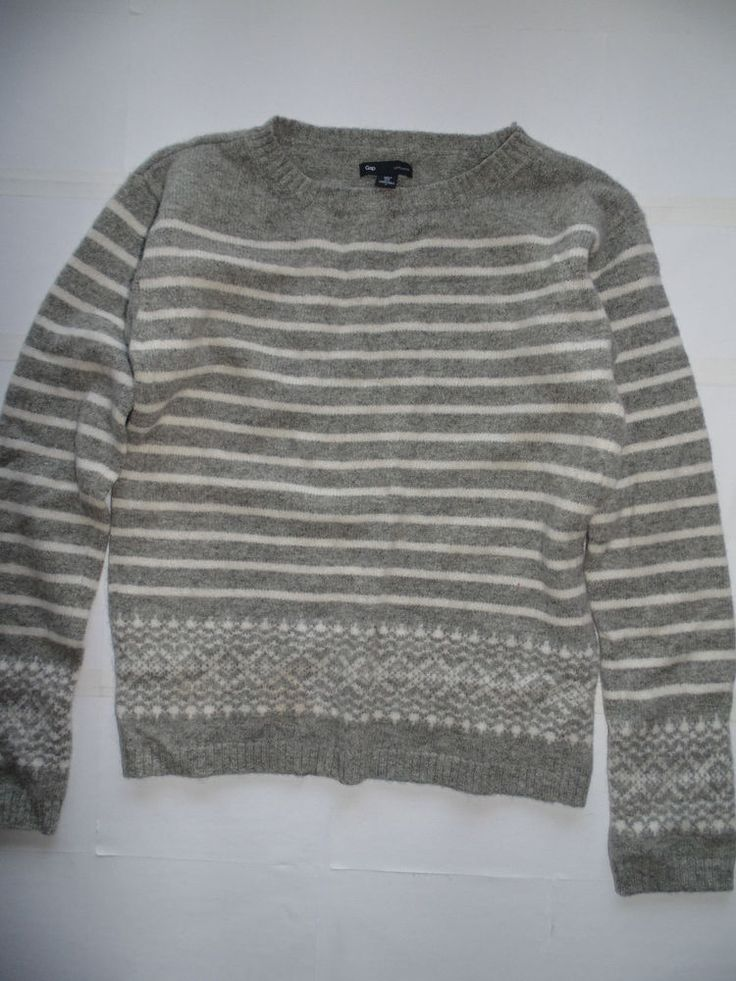 100% LAMBSWOOL GREY ISLE GAP JUMPER SIZE 10 EXC CON CHRISTMAS WARM COSY SWEATER