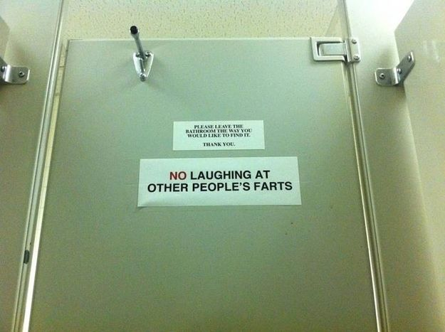 This bathroom notice: because this clearly was an enough of an issue. hahahahahahha, I would start cracking up in the stall!!