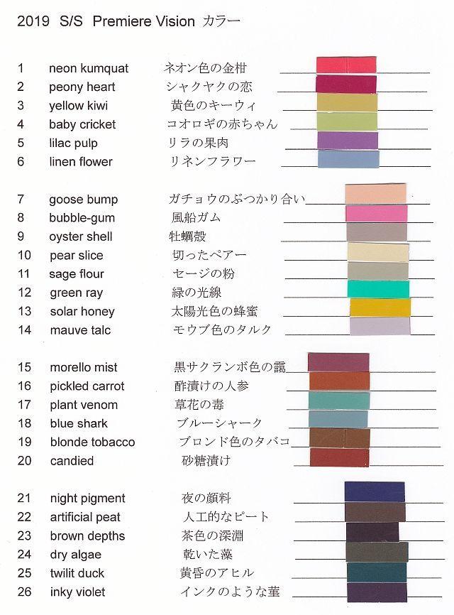 2019 S/S Premiere Vision カラー予測   トレンド   北川美智子   アパログ   ファッション、アパレル業界のブログポータルサイト