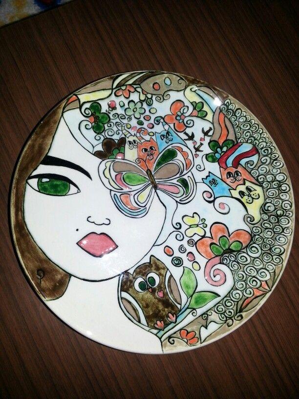Hand painting çini custom design 18 cm plate 75$
