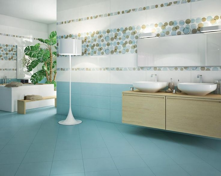 http://www.drissimm.com/wp-content/uploads/2015/02/enchanting-blue-bathroom-interior-design-with-blue-tile-floor-plus-circle-pattern-wallpaper-also-wooden-vanity-double-sink-also-lamps-standing-on-floor-plus-wall-lighting-above-mirror.jpg