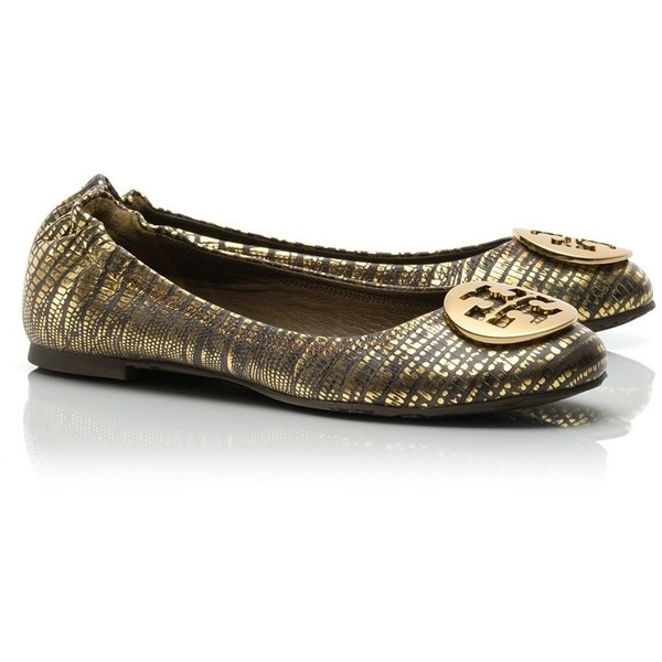 Tory Burch Lizard Printed Reva Ballet Flat ($235) ❤ liked on Polyvore