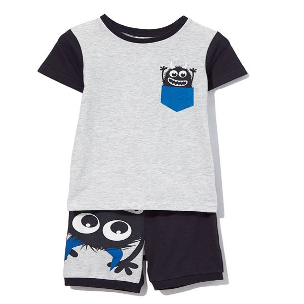Perfect, cool, funky Milky pjs for any little baby boy.  In soft cotton, to keep your baby at the perfect temperature during a Summer's night.  Milky pj's are navy pants, with monster image on the front and grey marle top, with monster featuring and navy sleeves.