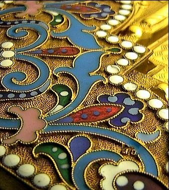 Ornamental pattern of a Russian icon. Silver and enamel. #Russian #patterns