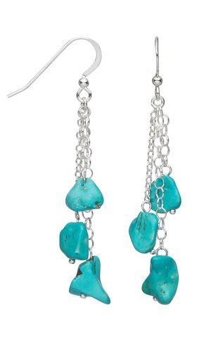 Earrings with Turquoise Gemstone Beads and Sterling Silver Chain