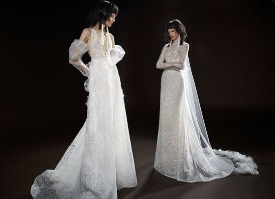 Vera Wang Spring 2018 'Celestine' ivory plunging V-neck macramé lace gown 'Cecile' gowns
