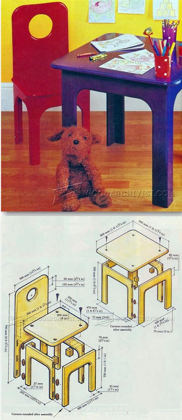 Kids Table and Chair Plans - Children's Furniture Plans and Projects   WoodArchivist.com