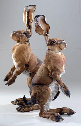 """*Ceramic Sculpture - """"Hares""""  by Elaine Peto"""
