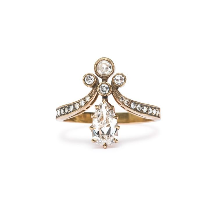 Victorian Vintage Inspired Engagement Ring | Tiara I (sooo cool! Wish it weren't diamonds though.)