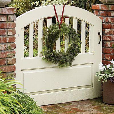 wreath for a garden gate or backyard gate winter garden