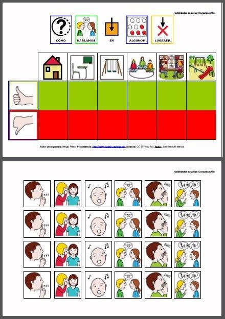 MATERIALES - Habilidades sociales: Comunicación.    Conjunto de dos tablas de doble entrada para anticipar y trabajar habilidades sociales y comunicativas adecuadas a distintos entornos habituales.    El material va acompañado de una hoja suplementaria con los pictogramas que debemos insertar en los huecos correspondientes de cada una de las tablas.     http://arasaac.org/materiales.php?id_material=576