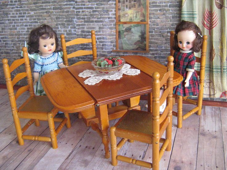 Vintage Doll Furniture -  KEYSTONE Drop Leaf Table and FOUR Ladderback Chairs! in Play Scale- 1:6