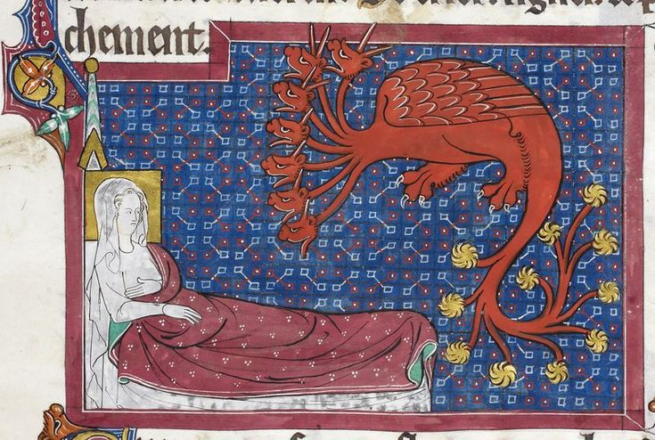 Detail of a miniature of the Woman and the seven-headed, ten-horned dragon-beast of the Apocalypse, from the Welles Apocalypse, England, c. 1310, Royal MS 15 D II, f. 153r