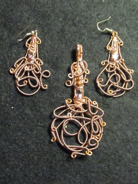 Copper Octopus Set With Faceted Amethyst       Handmade in USA  https://www.facebook.com/divinetreasurestkc/