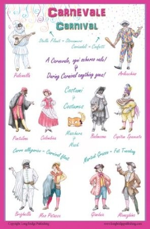 Amazon.com: Italian Language Poster - Carnevale / Carnival: Bilingual Chart for Classroom and Playroom: Arts, Crafts & Sewing