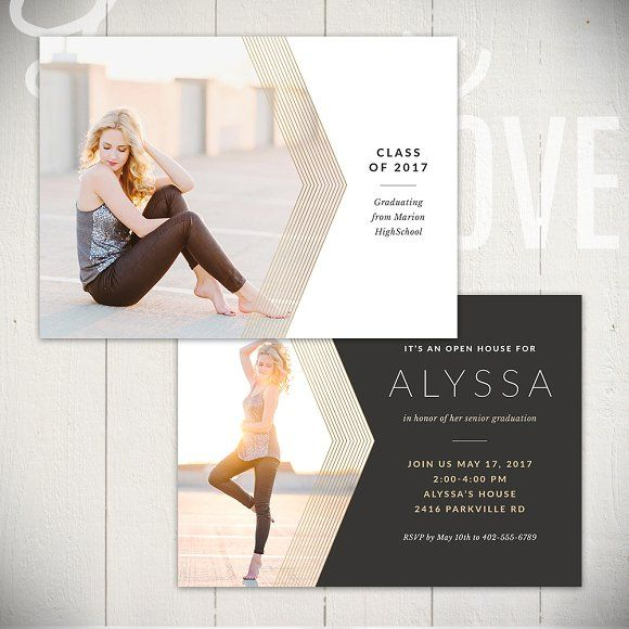 Graduation Card Template - BL5x7B by Laurie Cosgrove Design on @creativemarket